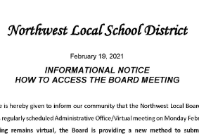 Board Meeting: Informational Notice For Feb 22nd