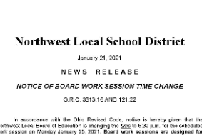 Notice of Board Work Session Time Change
