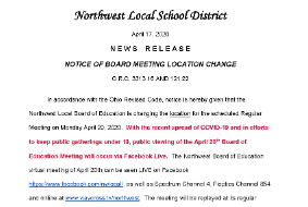 notice of board location change