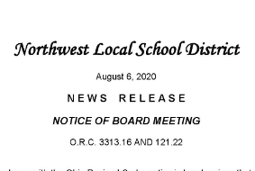 Board Meeting Notice for August 10, 2020