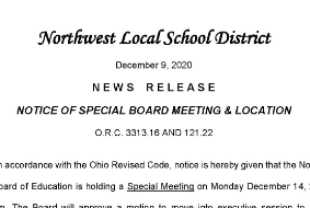 Notice of Board Meeting Location Change