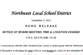 Notice of Board Meeting Time and Location Change