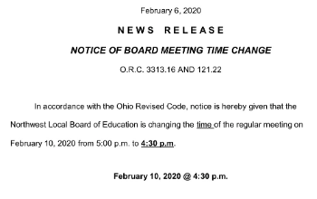 Notice of Board Meeting Time Change