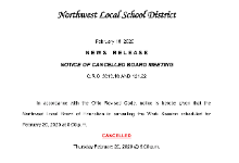 Board Meeting Cancellation