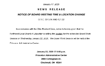 NOTICE OF BOARD MEETING TIME & LOCATION CHANGE