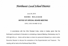 News Release: Notice of Special Board Meeting