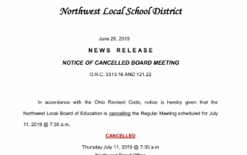 News Release: Notice of Cancelled Board Meeting