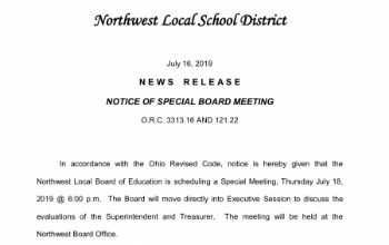 Notice of Special Board Meeting