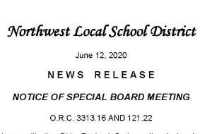 Notice of Special Board Meeting