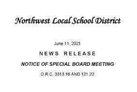 Notice of Special Board Meeting June 16, 2021