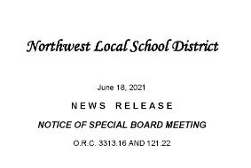 Notice of Special Board Meeting June 21, 2021