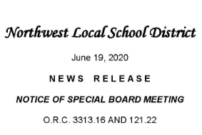 Notice of Special Board Meeting - June 22