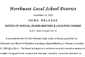 Notice of Special Board Meeting and Location Change