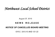 Notice of Cancelled Board Meeting