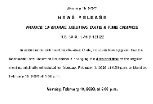 NOTICE OF BOARD MEETING DATE & TIME CHANGE