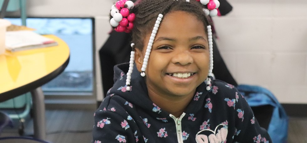 female Struble Elementary student smiling