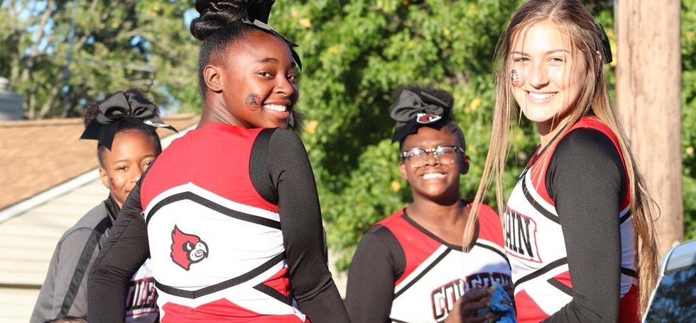 Four Colerain High School Cheerleaders during homecoming